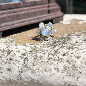 Moonstone Two-Tone Sterling Silver Ring Sz 7